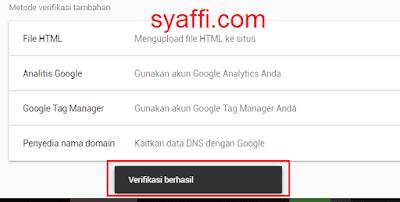 17. Verifikasi kepemilikan situs pada Google Search Console berhasil