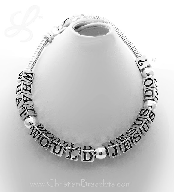 What Would Jesus Do 3mm Snake Bracelet (.925 sterling silver)