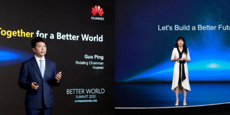 Huawei's Rotating Chairman Guo Ping and Huawei's Corporate Senior Vice President and Director Catherine Chen