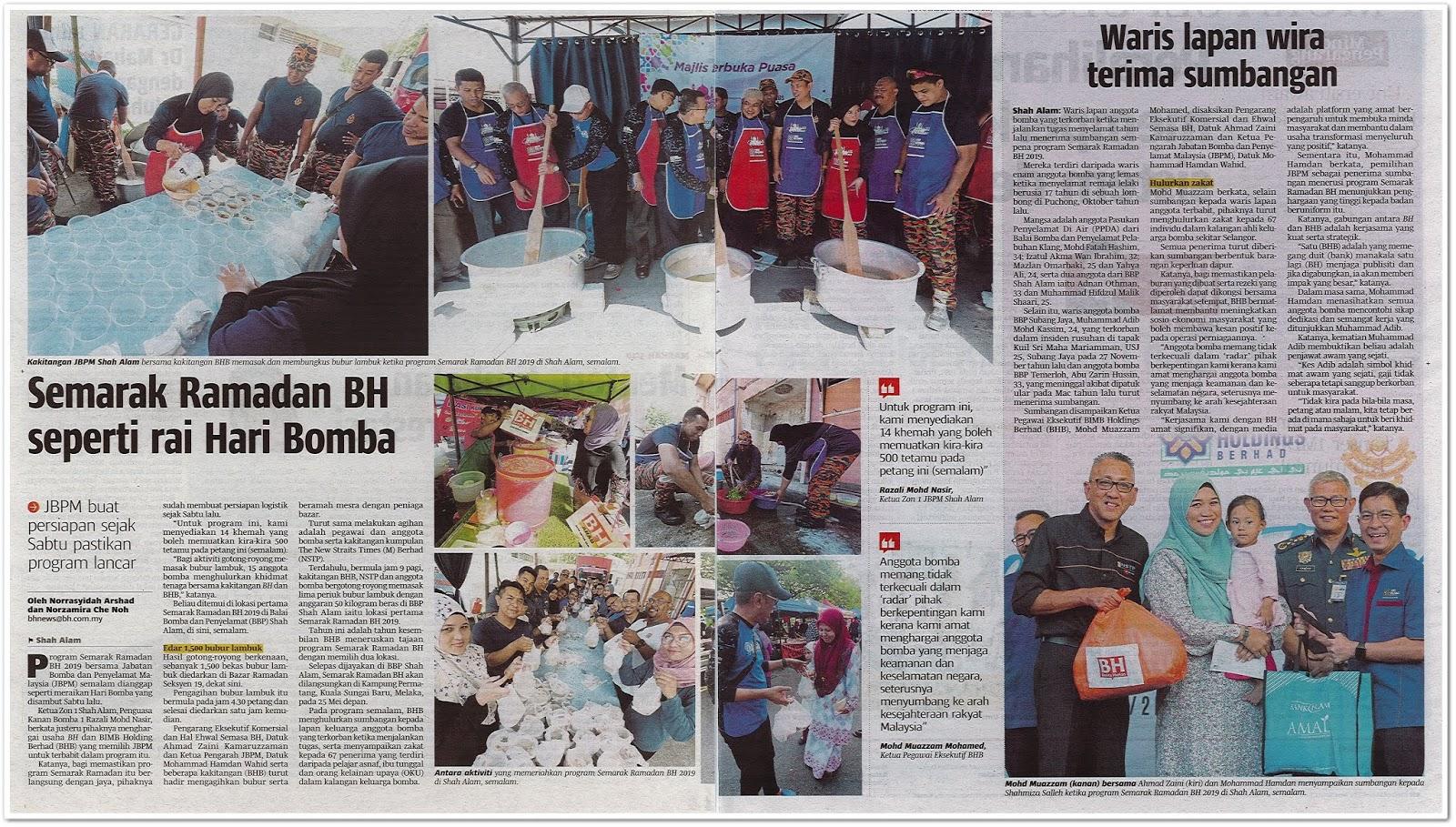 Semarak Ramadhan BH seperti rai Hari Bomba - Keratan akhbar Berita Harian 8 Mei 2019