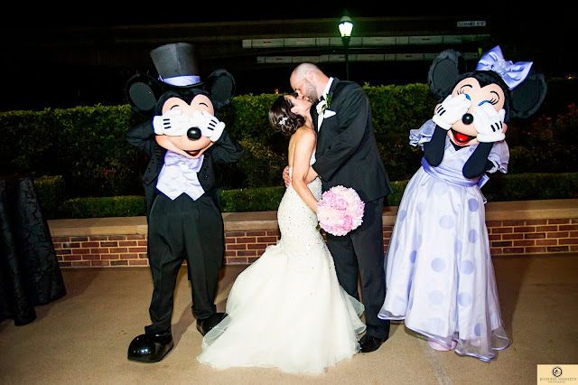 Disney World Wedding Photography Kissing with Minnie and Mickie