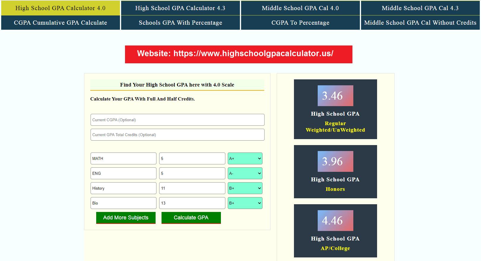 High School GPA Calculator