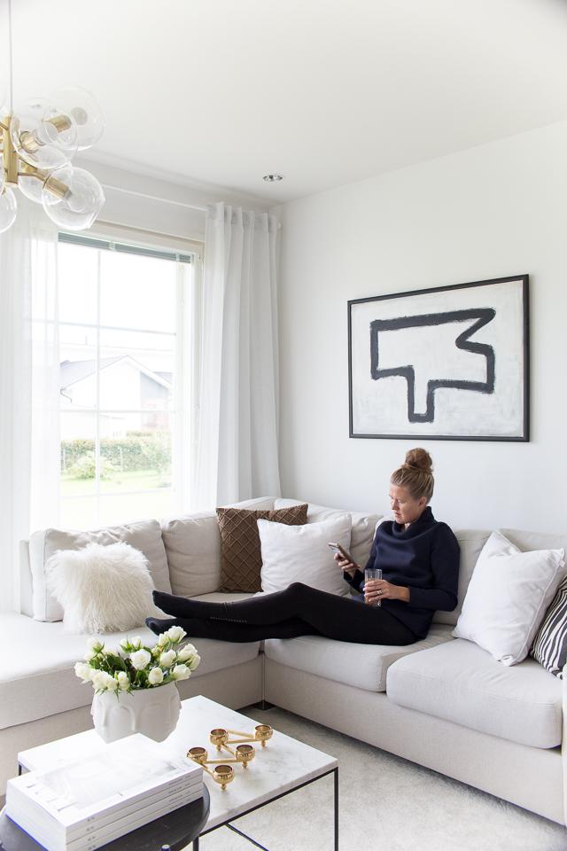Villa H, kotitoimisto sohvalla, oma tyyli, olohuoneen sisustus