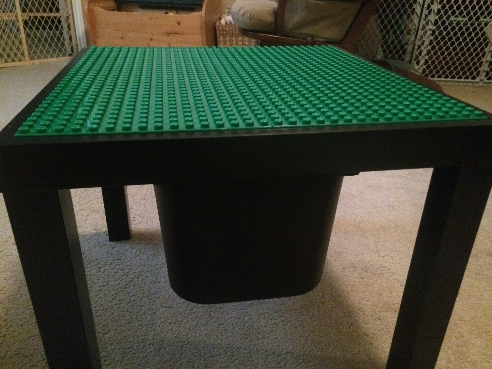 How to make an easy do it yourself Ikea Lego Table from an Ikea Lack table. Super simple and includes built in Trofast storage for bricks.