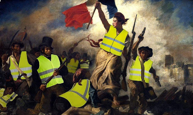 Edited revolutionary painting featuring yellow vests