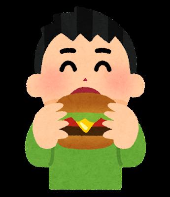 ハンバーガーを食べる人のイラスト(男性)
