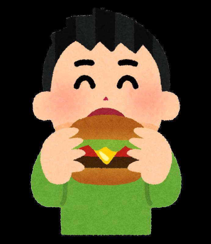 ハンバーガーを食べる人のイラスト男性 かわいいフリー素材集