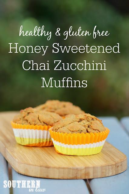 Gluten Free Honey Sweetened Chai Zucchini Muffins Recipe - low fat, gluten free, healthy, sugar free, clean eating recipe, nut free, kid friendly