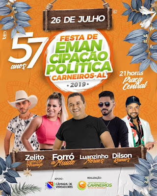 Shows de três bandas na festa de Emancipação de Carneiros/AL custaram R$ 60 mil aos cofres da Prefeitura