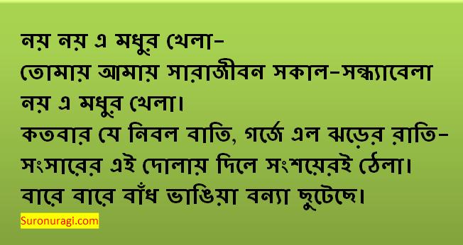 Noy Noy E Modhur Khela Lyrics (নয় নয় এ মধুর খেলা লিরিক্স)