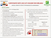 Holiday Inn Melaka Corporate Rates for TM Staff 2015