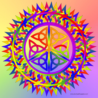 Rainbow knotwork peace symbol