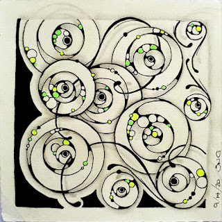 Square One: Purely Zentangle from September 11-17 featuring the tangle Undiala
