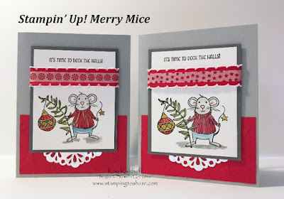 Stampin' Up! Merry Mice Christmas Card by Kay Kalthoff Stamping to Share