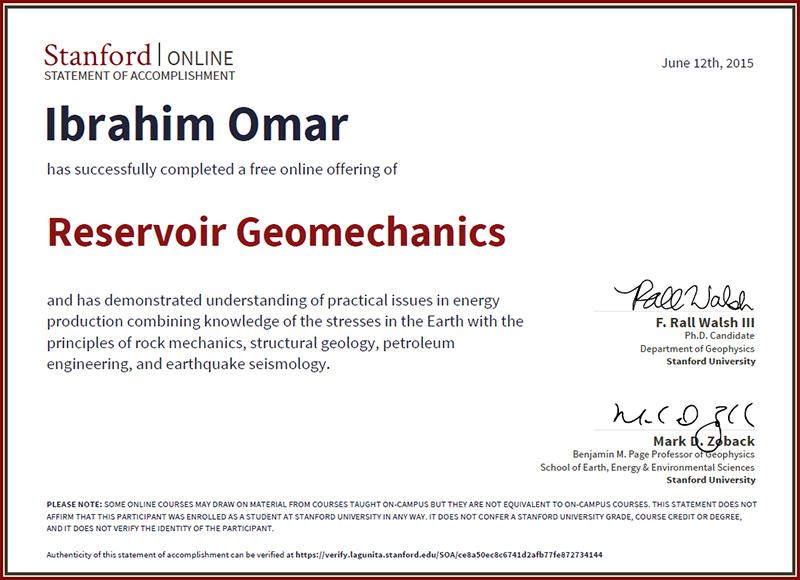 Ibrahim Omar Geophysicist: Reservoir Geomechanics (ResGeo202