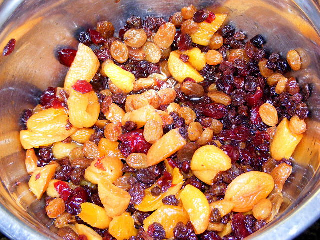 A mixture of dried fruit soaked in tea for tea cake. Prepared and photographed by Susan Walter.
