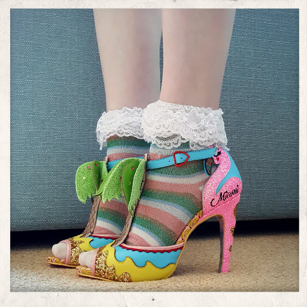 wearing irregular choice ashbury skies miami flamingo shoes
