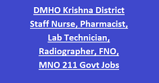 DMHO Krishna District Staff Nurse, Pharmacist, Lab Technician, Radiographer, FNO, MNO 10th pass 211 Govt Jobs 2020 Application Form
