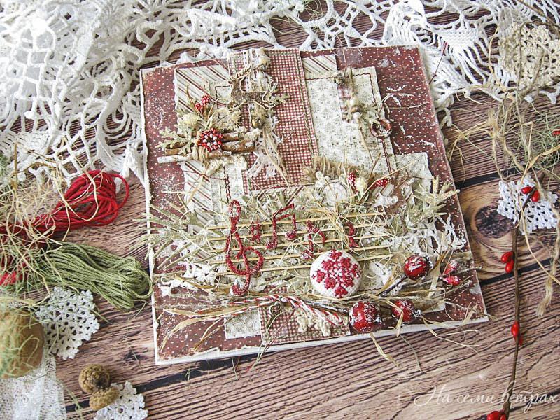 Рождественская открытка с оленями и нотами