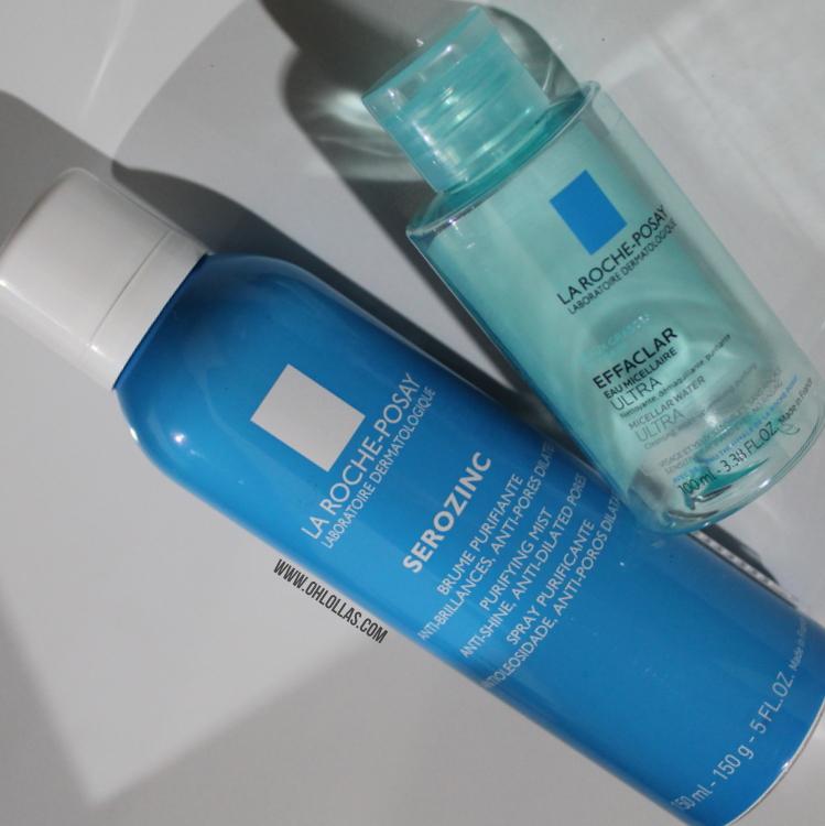 Água micelar Effaclar e Spray matificante Serozinc La Roche Posay