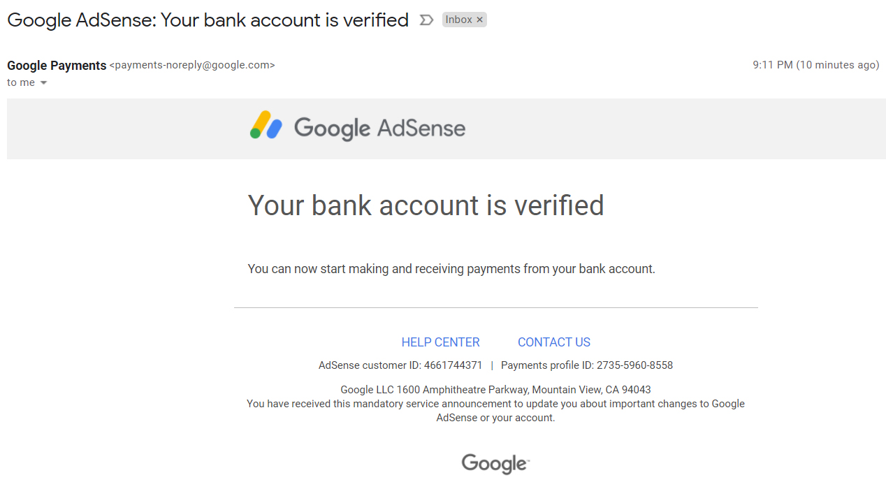 Adsense bank account verified