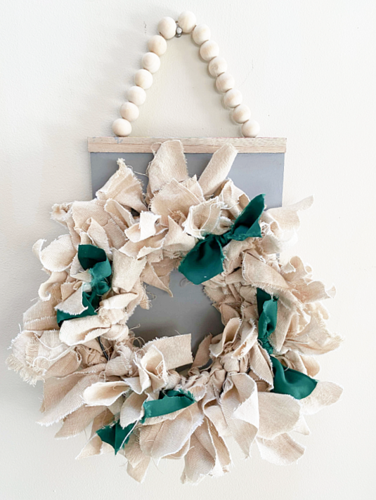 rag wreath on beaded wreath hanger