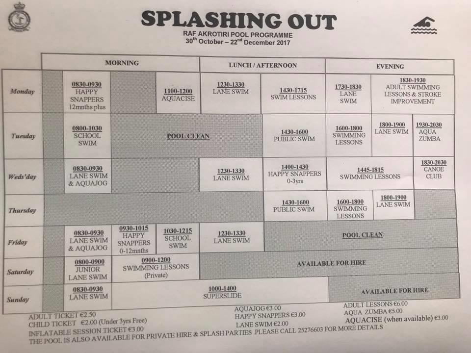 Akrotiri Hive Swimming Pool Timetable