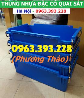 Thùng nhựa đặc có quai sắt, hộp nhựa cơ khí cao cấp