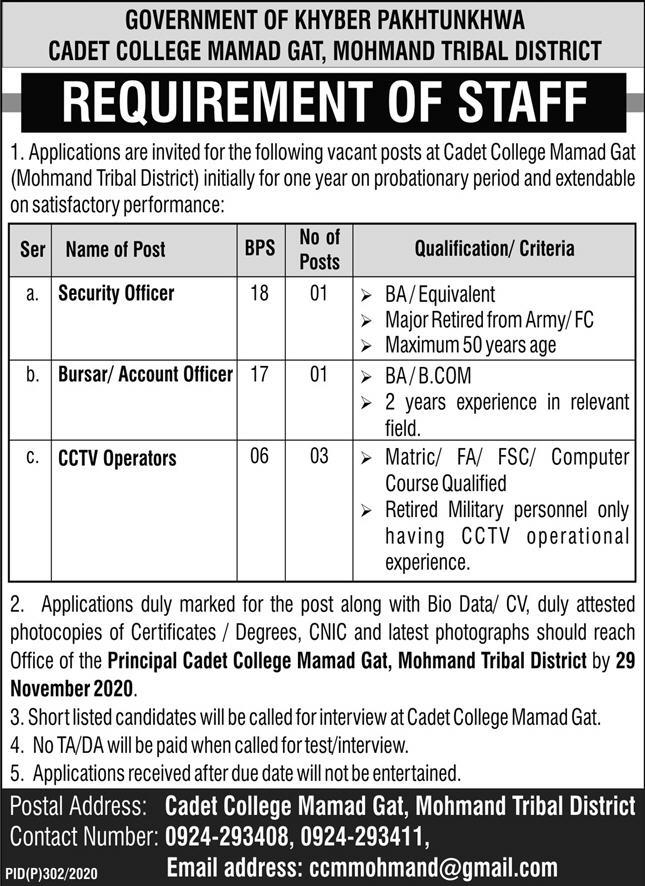 Cadet College Mamad Gat Mohmand Tribal District KPK Nov 2020 Jobs in Pakistan 2020