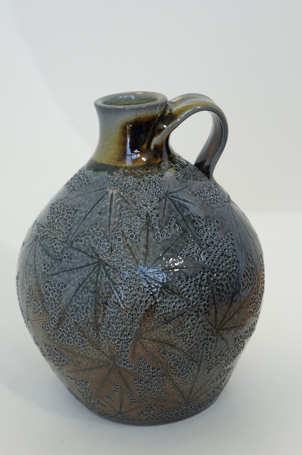 Soda fired ceramic vessel with maple leaf imprints - pottery by Lily L.