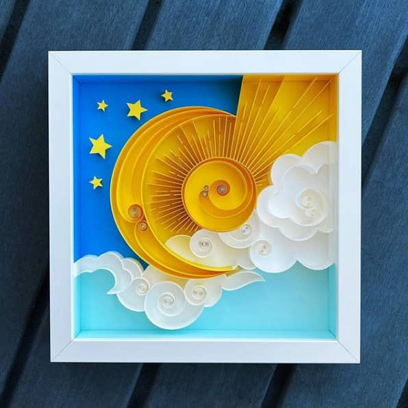 quilled sun and moon framed paper art