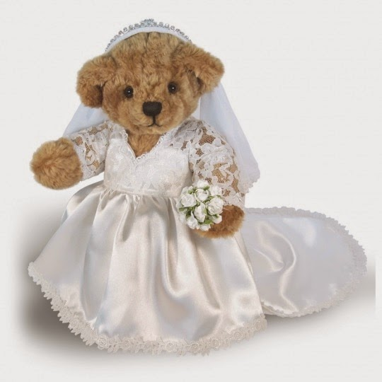 Teddy bear dressed as Catherine the Bride.