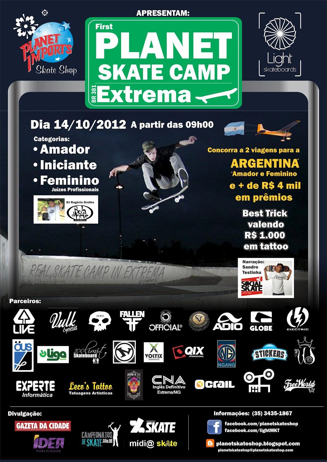 A loja Planet Imports Skate Shop realizará o primeiro Planet Skate Camp de  Extrema. O evento é uma parceria da empresa d4d38eefb05