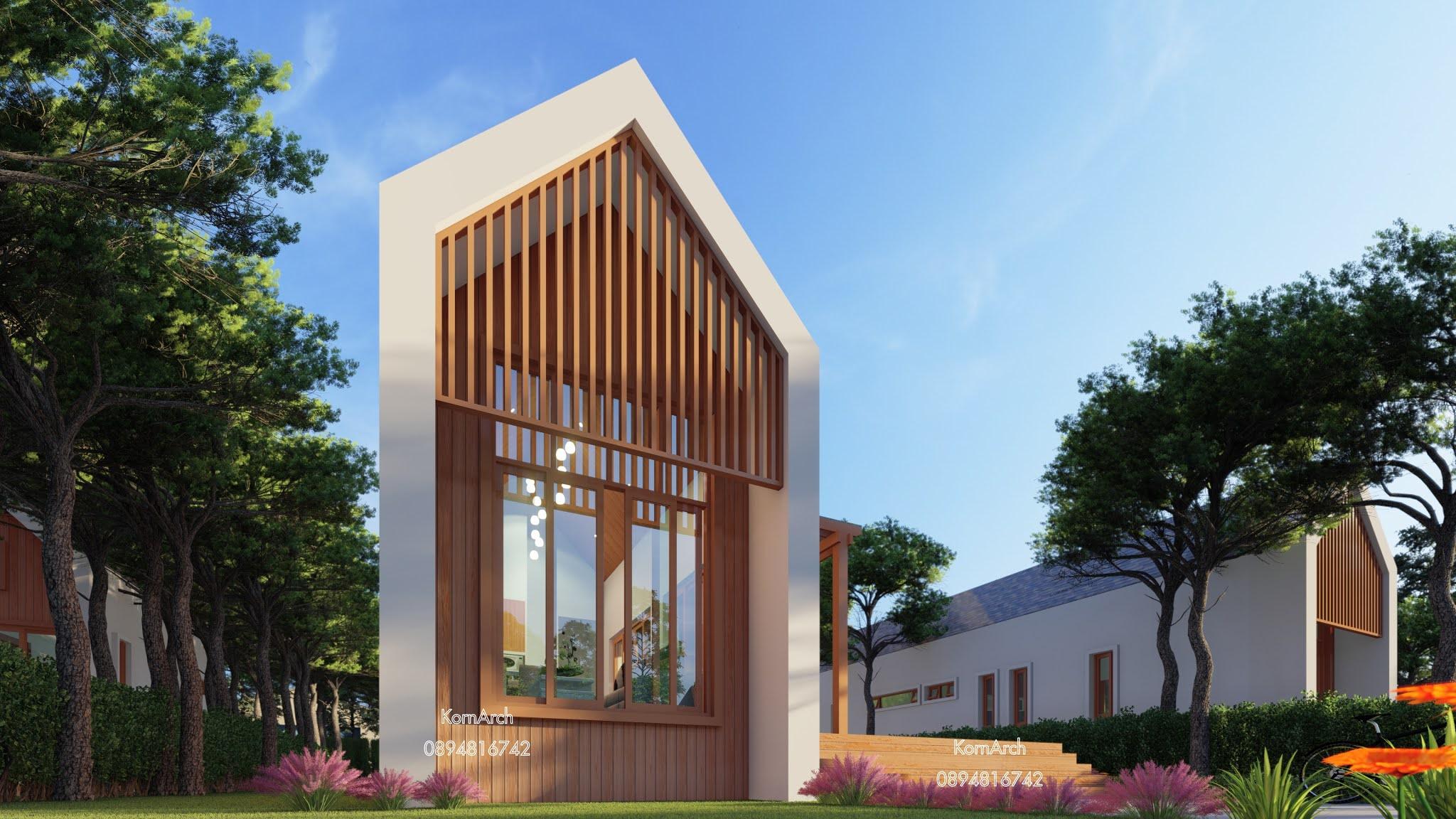 แบบบ้านชั้นเดียวพร้อมสระสไตล์นอร์ดิก เจ้าของอาคาร เดอะ โมเมนโต (The Momento) สถานที่ก่อสร้าง ต.สาริกา อ.เมือง จ.นครนายก