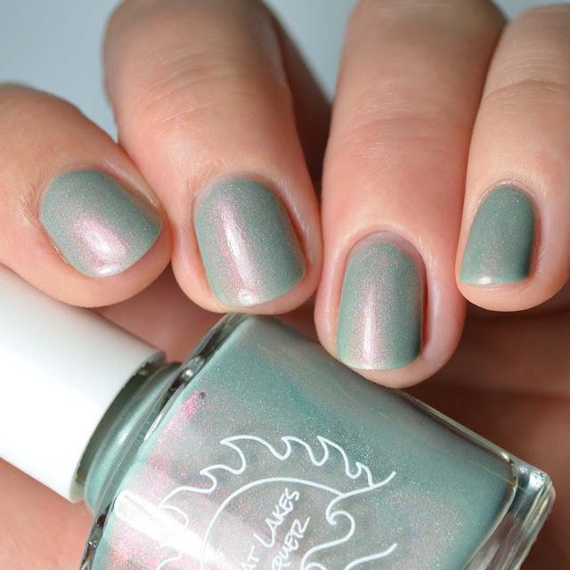 grey green shimmer nail polish swatch