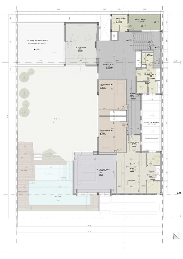 First floor plan of Modern Villa Devoto by Andres Remy Architects