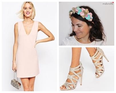 Colores rosa quartz, mint y dorado, oro, con vestido rosa y sandalias serpiente de asos