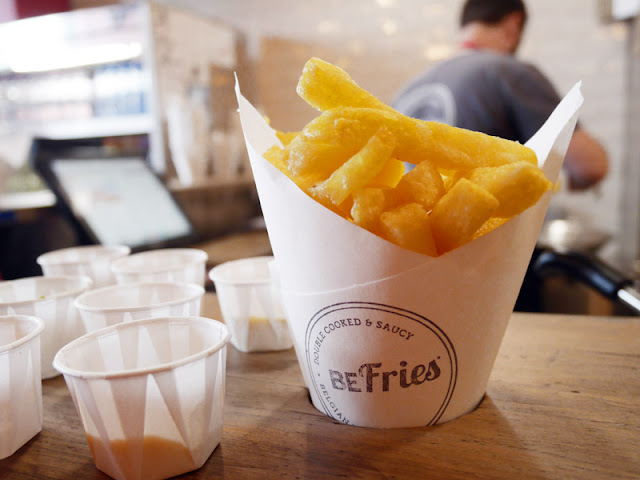 a cone of fries at BeFries in Brighton