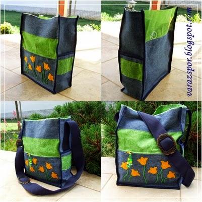 aeff61af5352 Ez után már tényleg gőzerővel vetettem magam bele a varrásba. :)  Összeállítottam a táskát és sötétkék szegőpánttal körbeszegtem. A táska  oldalára felvarrtam ...