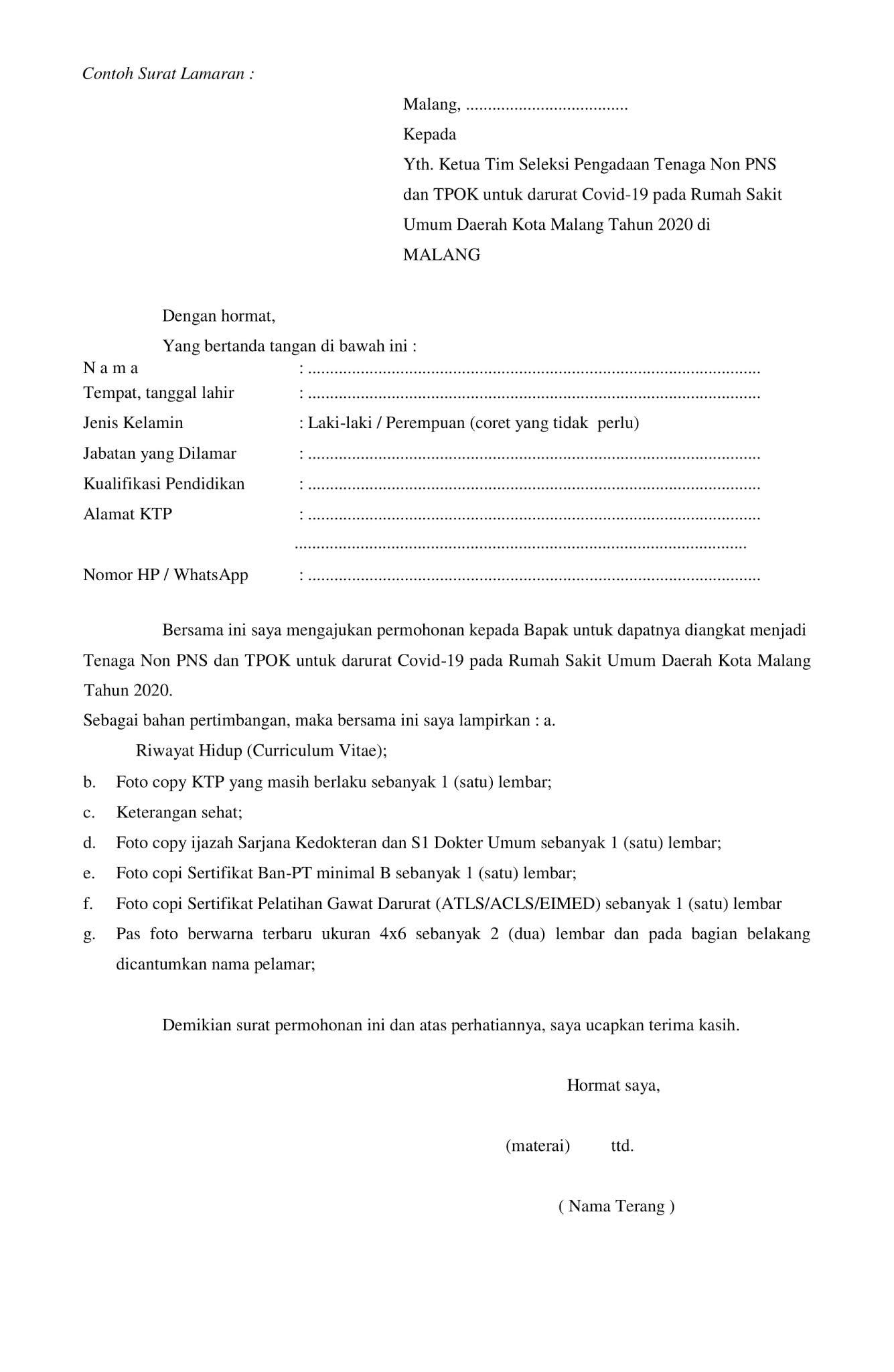 Lowongan Kerja Non Pns Rumah Sakit Umum Daerah Kota Malang Tingkat Sma D3 S1 Bulan Agustus 2020 Rekrutmen Lowongan Kerja Bulan Januari 2021