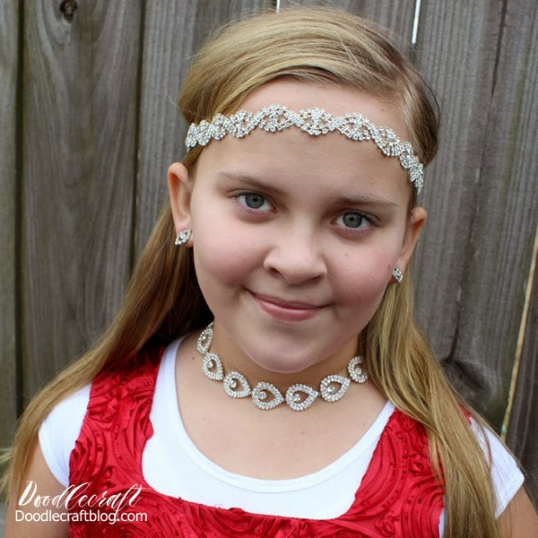 Make a rhinestone tiara or necklace.
