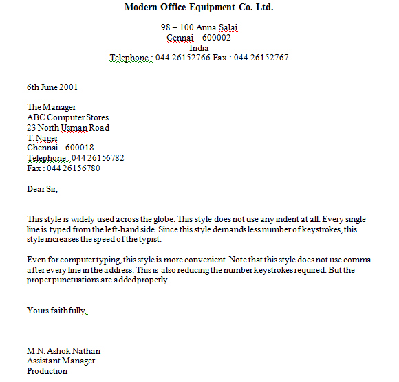 STYLE AND PART OF BUSINESS LETTERS