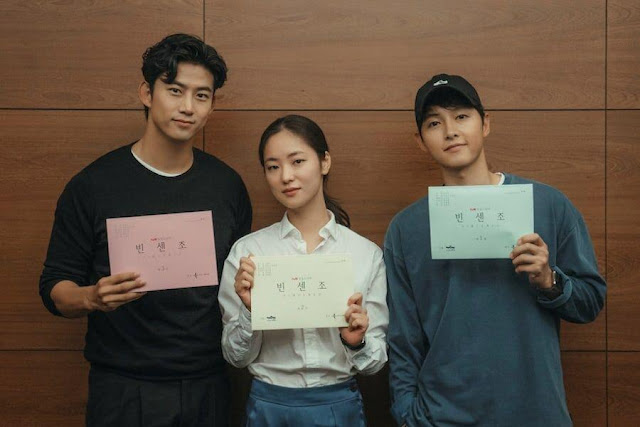 tvN新戲《Vincenzo》宋仲基x全汝彬x玉澤演,公開首次閱讀劇本花絮照,預定2月首播