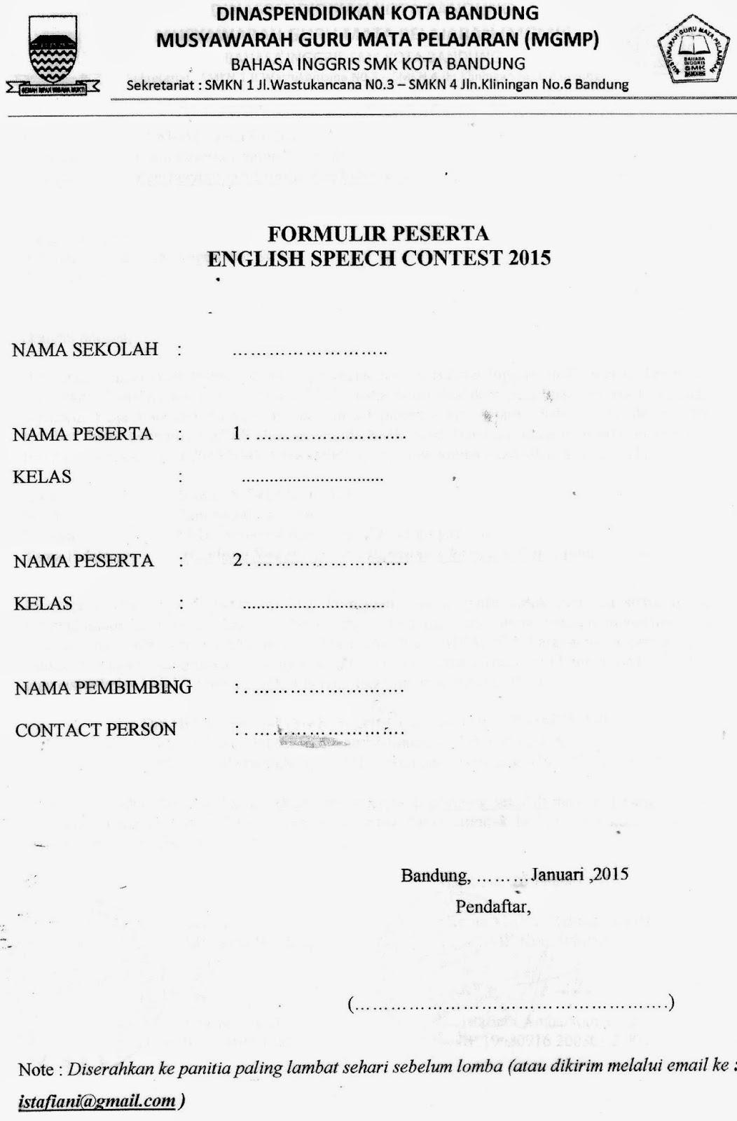 Contoh Form Dalam Bahasa Inggris Puspasari