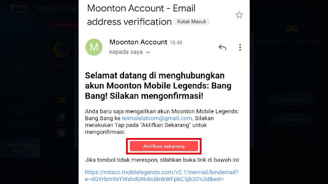 Verifikasi Akun Moonton Mobile Legends