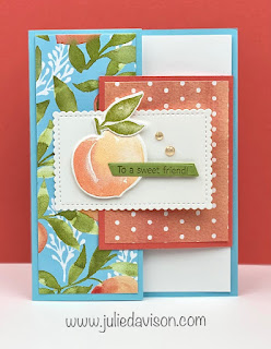 Stampin' Up! Sweet as a Peach Tuck Fold Card + Sunday Stamping Video ~ www.juliedavison.com #stampinup