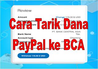 Cara Tarik Dana PayPal ke BCA