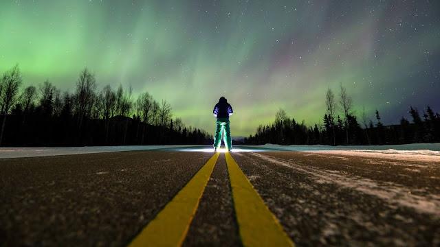 Northern Lights Wallpaper, Alone Man, Road HD
