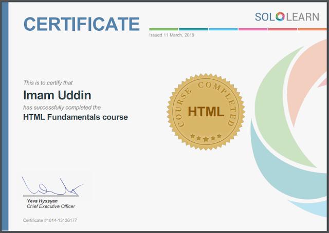 HTML Fundamental | SOLOLEARN Certification