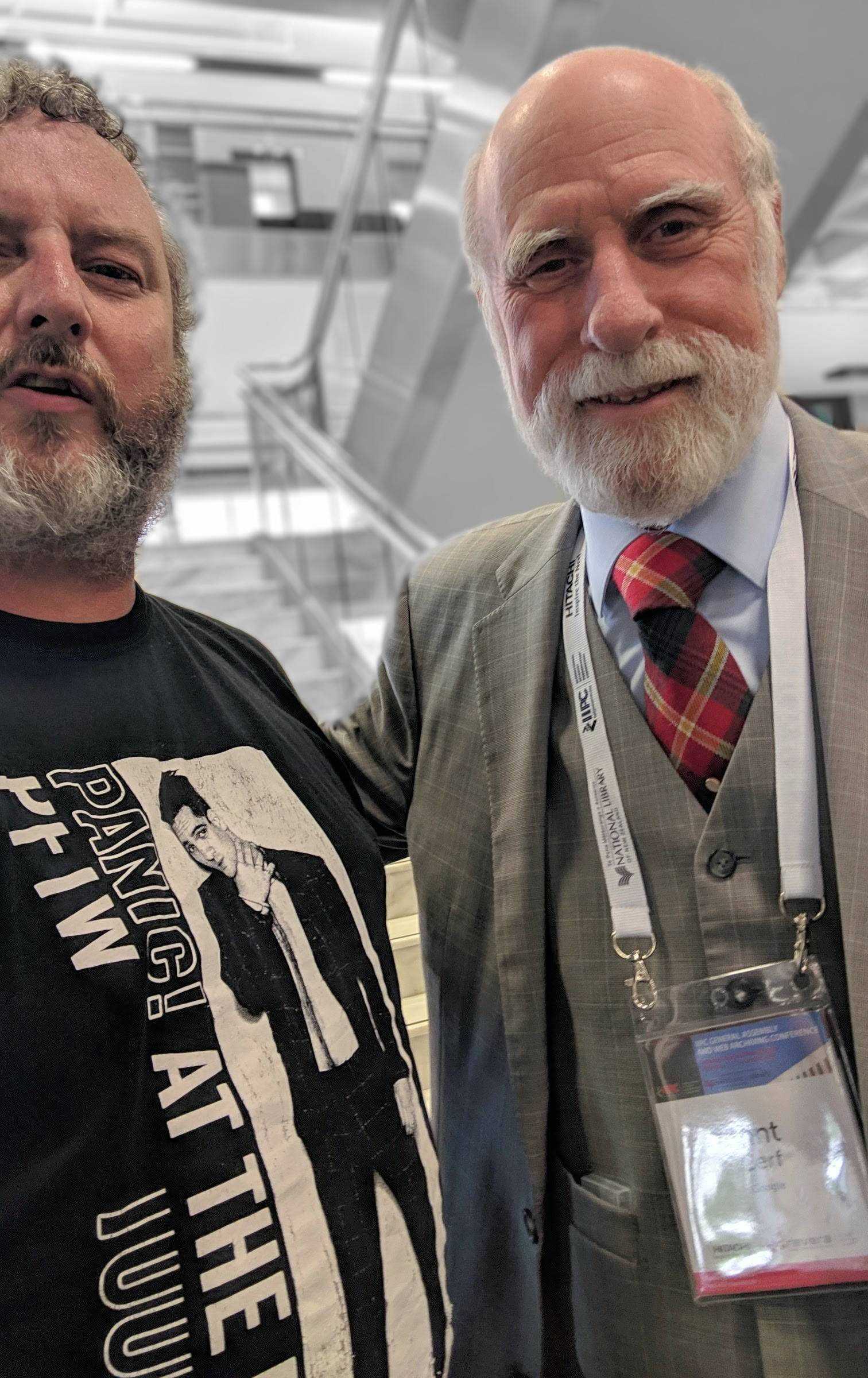 Mike with Vint Cerf in Aotearoa New Zealand 2018